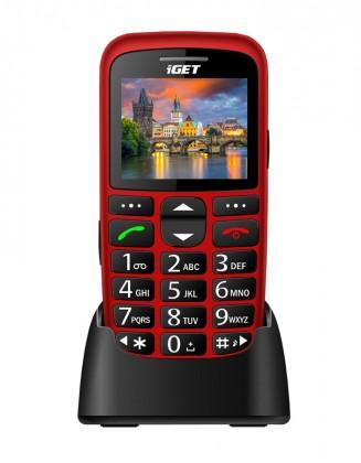 Senior telefón Telefón pre seniorov iGET D7 Simple, červená