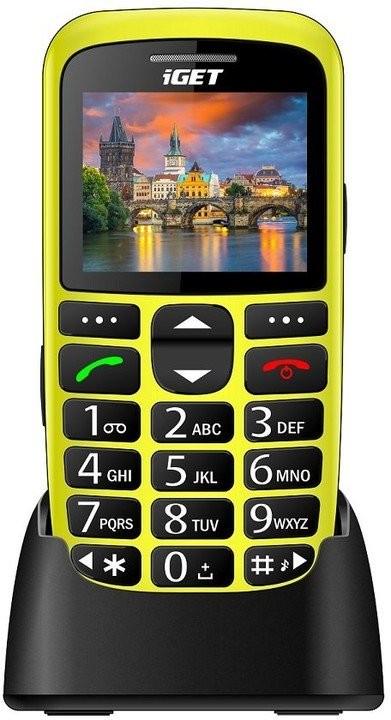 Senior telefón Telefón pre seniorov iGET D7 Simple, žltá