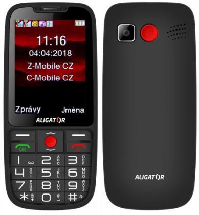 Senior telefón Tlačidlový telefón pre seniorov Aligator A890, čierna