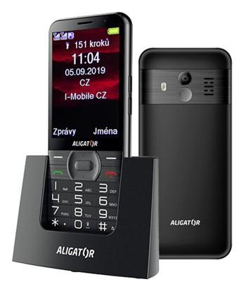 Senior telefón Tlačidlový telefón pre seniorov Aligator A900, čierna