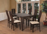 Set 1 - 6x stolička, stôl, rozkladací (orech tmavý/lana 22/buk)