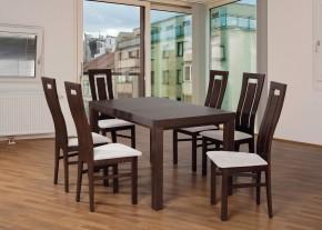Set 4 - 6x stolička,1x stôl,rozklad (orech tmavý/lana 21/buk)