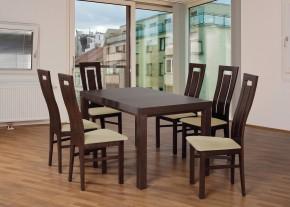 Set 4 - 6x stolička,1x stôl,rozklad (orech tmavý/madryt 111/buk)