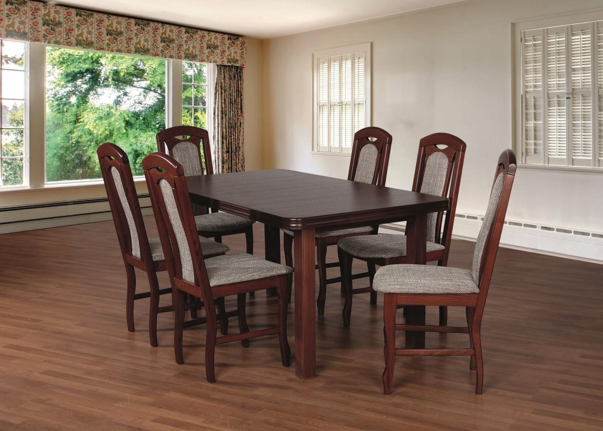 Set Jedálenský set 18 - Stôl 160x90,6x stolička (orech/lawa 2)