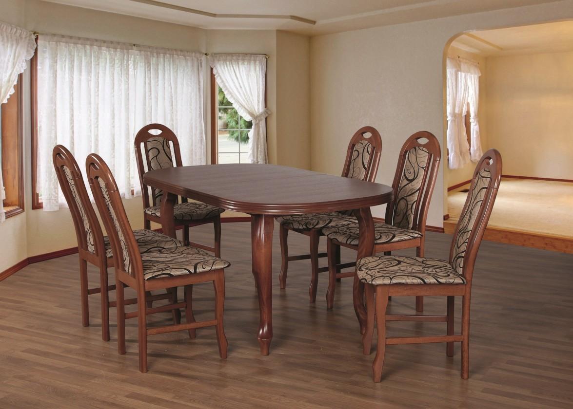 Set Jedálenský set 19 - Stôl 160x90,6x stolička (orech/dakota 3)