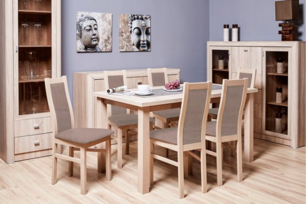 Set Jedálenský set AGA - 6x stolička, 1x rozkladací stôl (sonoma/látk