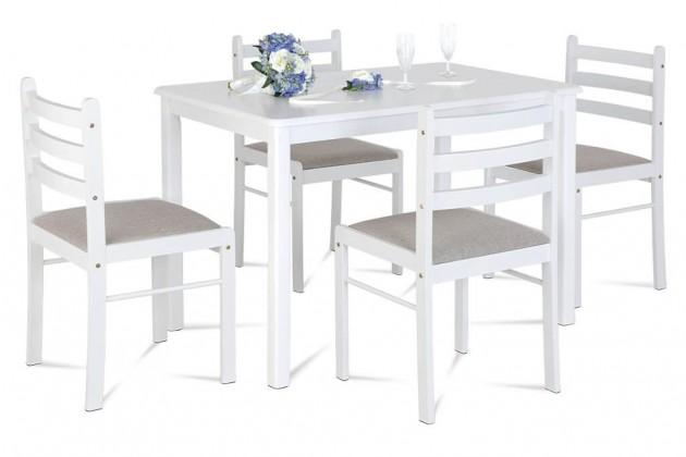 Set Jedálenský set Blanche - 4x stolička, 1x stôl (drevo, biela)
