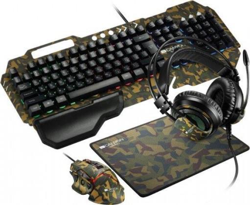 Set klávesnica a myš Set Canyon Argama, klávesnica+myš+podložka+headset, maskáčová