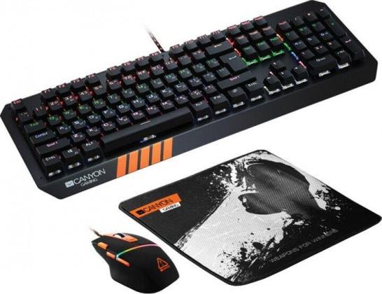 Set klávesnica a myš Set Canyon Nightflyer, myš+podložka+klávesnica, US, čierna