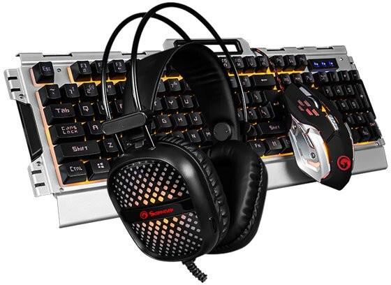 Set Marvo CM303, herné, klávesnica+myš+slúchadlá, CZ/SK, čierna