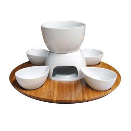 Set na fondue 360564 (bambus,keramika)