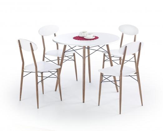 Set Record - Stôl + 4 stoličky, guľatý (biela, hnedá)