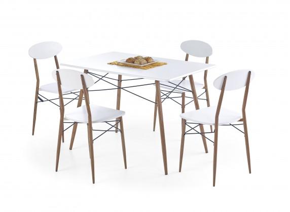 Set Record - Stôl + 4 stoličky, obdĺžnik (biela, hnedá)