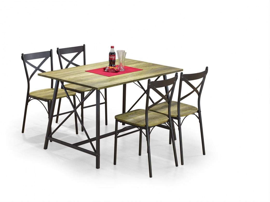Set Reliant - Stôl + 4 stoličky (čierna, drevo)
