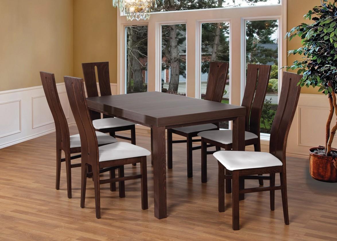 Set Set 1 - 6x stolička,stôl,rozkladací (orech tmavý/madryt 120/buk)