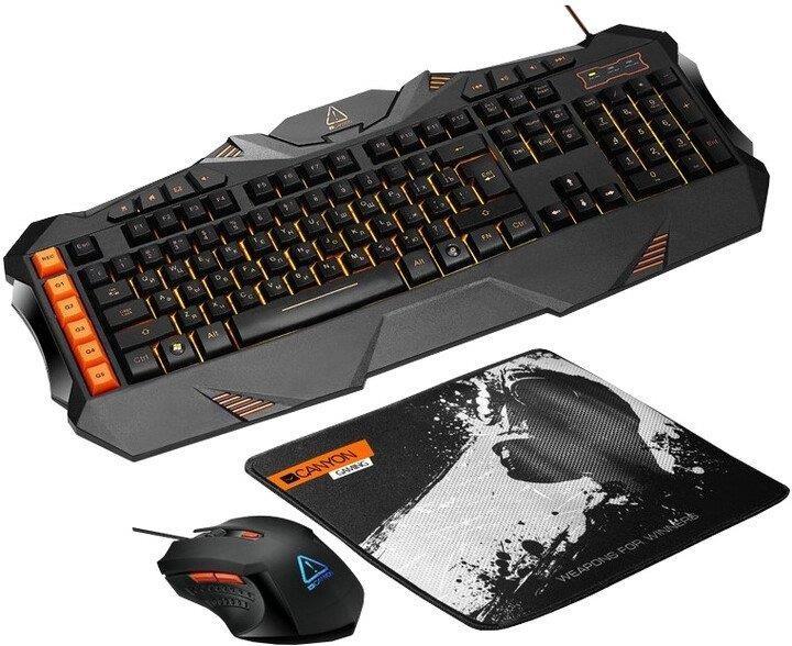 Sety klávesnic s myšou Set Canyon Leonof, myš+podložka+klávesnica, US layout, čierna