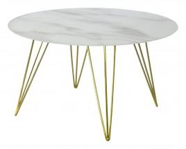 Sevilla - konferenčný stolík, sklenená doska, mosadzné nohy