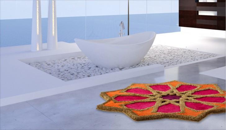 Sherezad - Předložka kruh, 120cm (oranžová-ružová-fialová-zlatá)