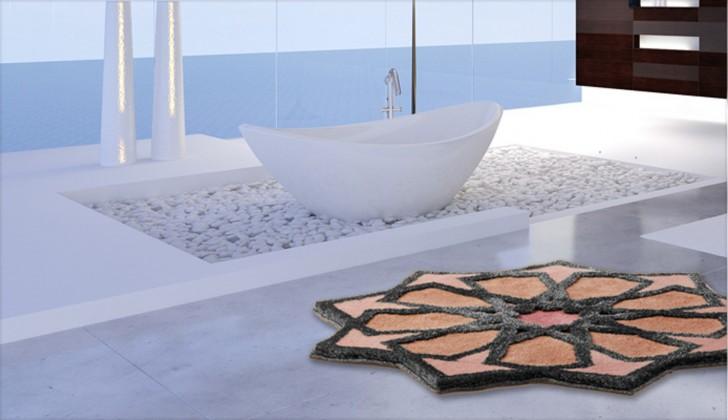 Sherezad - Předložka kruh, 140 cm (ružová-broskyňová-stříbrná)