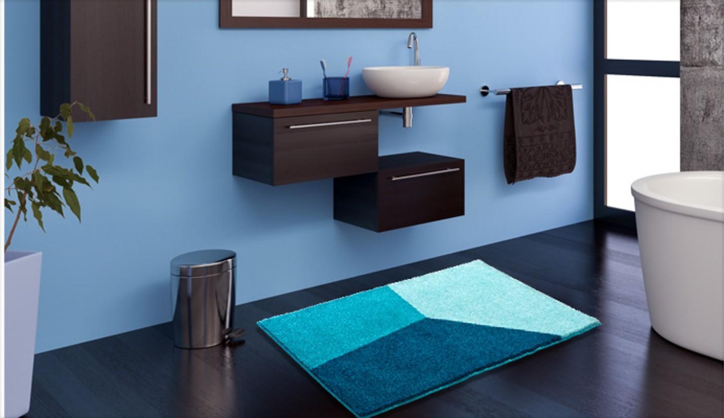 Shi - Kúpeľňová predložka 60x100 cm (ľadovo modrá-petrolejová)