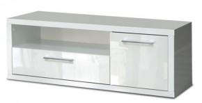 Shine - TV komoda, 2x zásuvka (biela lesk)