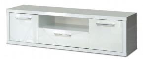 Shine - TV komoda, 3x zásuvka (biela lesk)