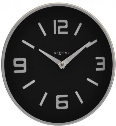 Shuwan - hodiny, nástenné, guľaté (sklo, čierne)