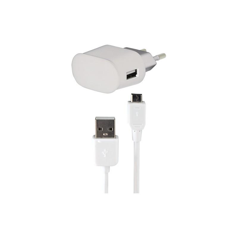 Sieťové nabíjačky (230V) BIGBEN Micro USB nabíjací sada 1A do siete, biela