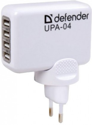 Sieťové nabíjačky (230V) Defender UPA-04, USB-AC napájací adaptér