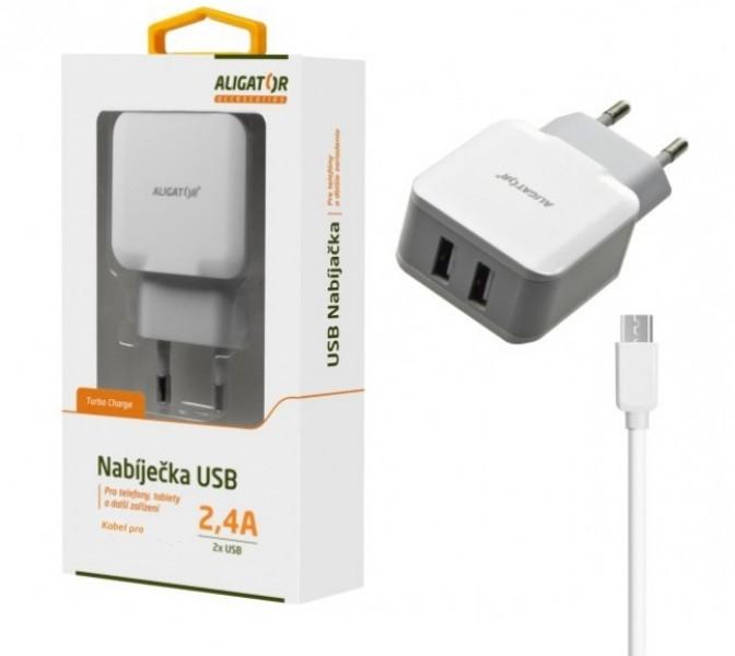 Sieťové nabíjačky (230V) Nabíjačka Aligator 2xUSB 2,4A + kábel Micro USB, biela