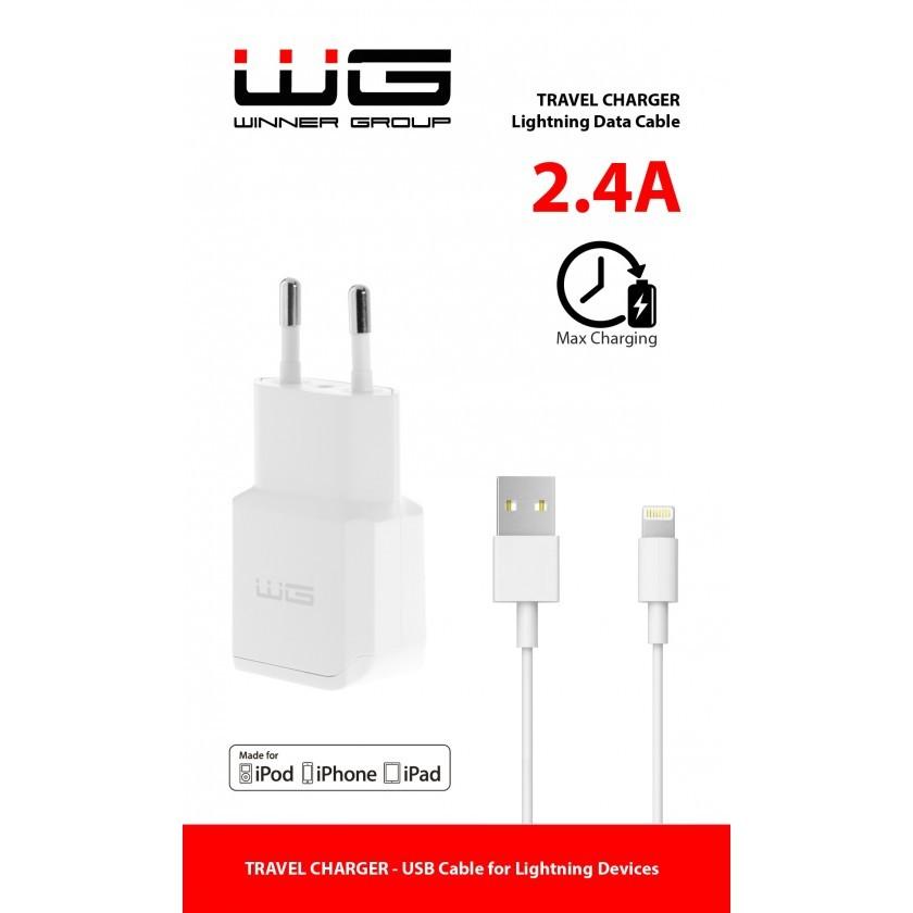 Sieťové nabíjačky (230V) Nabíjačka WG 1xUSB 2,4A + kábel Lightning s MFI, biela