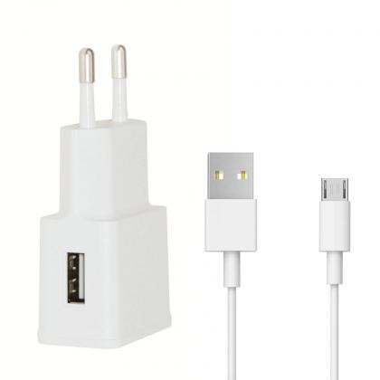 Sieťové nabíjačky (230V) Nabíjačka WG 1xUSB + kábel Micro USB, biela