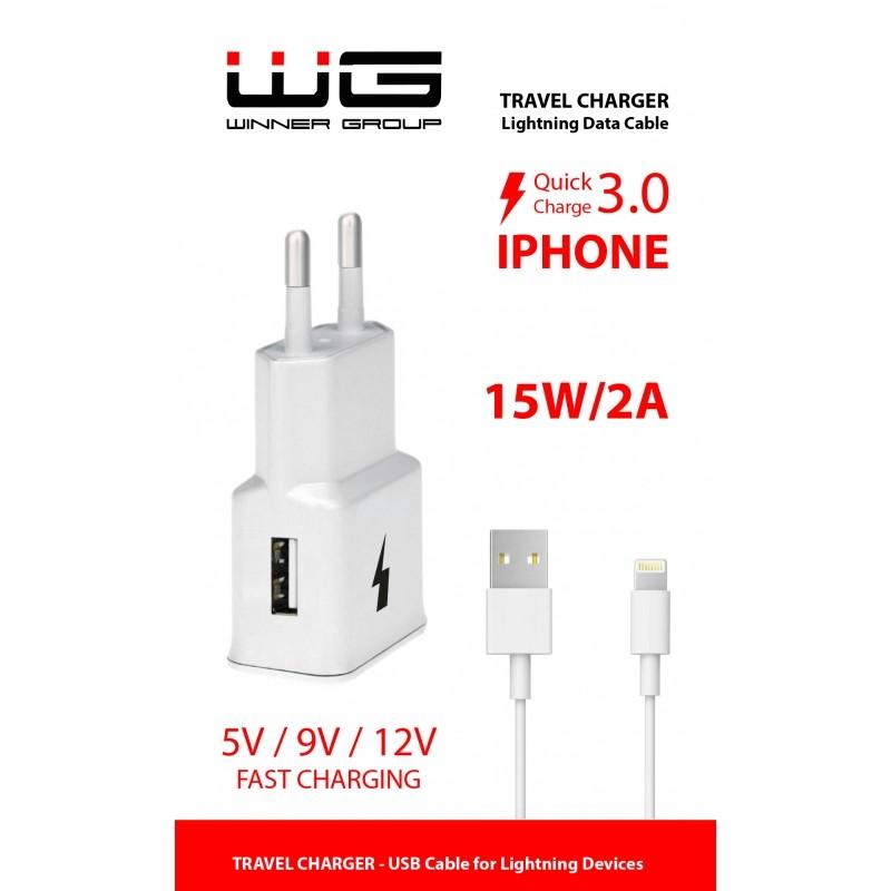 Sieťové nabíjačky (230V) Nabíjačka WG 1xUSB s rychlonabíjením + kábel Lightning