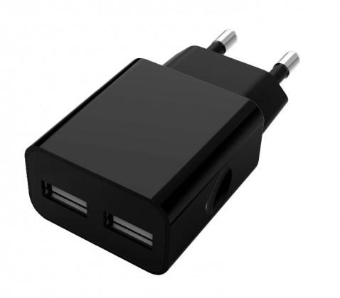 Sieťové nabíjačky (230V) Nabíjačka WG 2xUSB 2,1 A + kábel Lightning, čierna