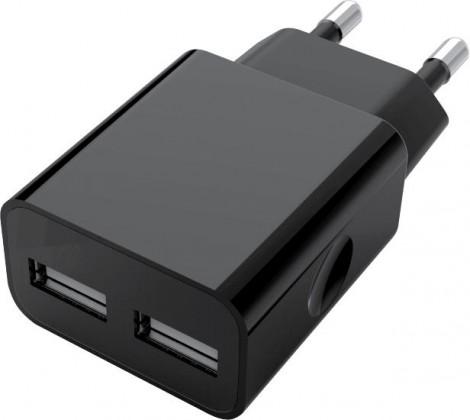 Sieťové nabíjačky (230V) Nabíjačka WG 2xUSB 2,4A + kábel Lightning PFI, čierna