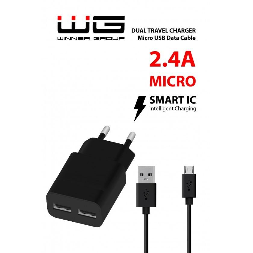 Sieťové nabíjačky (230V) Nabíjačka WG 2xUSB 2,4A + kábel Micro USB, čierna