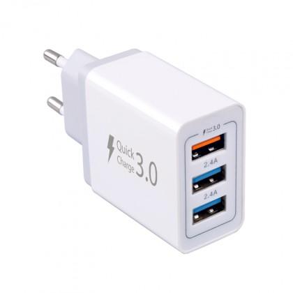 Sieťové nabíjačky (230V) Nabíjačka WG 3xUSB 7,8A (2x 2,4A Fast charge + 1x 3A QC)