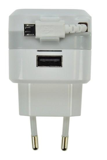 Sieťové nabíjačky (230V) Solight USB nabíjecí adaptér, navíjecí kabel micro USB + 1x USB