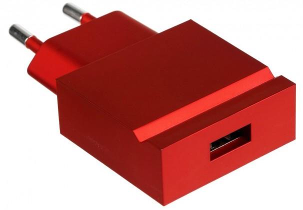 Sieťové nabíjačky (230V) USBEPOWER kapesní USB nabíječka POP, kovově červená