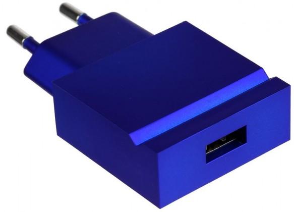 Sieťové nabíjačky (230V) USBEPOWER kapesní USB nabíječka POP, kovově modrá