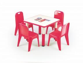 Simba - Výškovo nastaviteľný detský stolík (biela/červená)