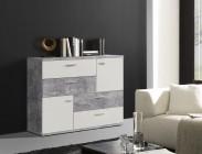 Skive - Komoda, 4x zásuvka + 2x dvere (svetlý beton/biela)