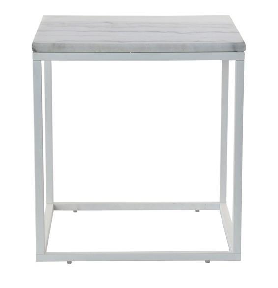 Sklenený Accent - Konferenčný stolík, biely rám (prírodný mramor, oceľ)