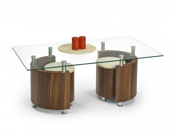 Sklenený Angel - Konferenčný stolík (orech/krémová)