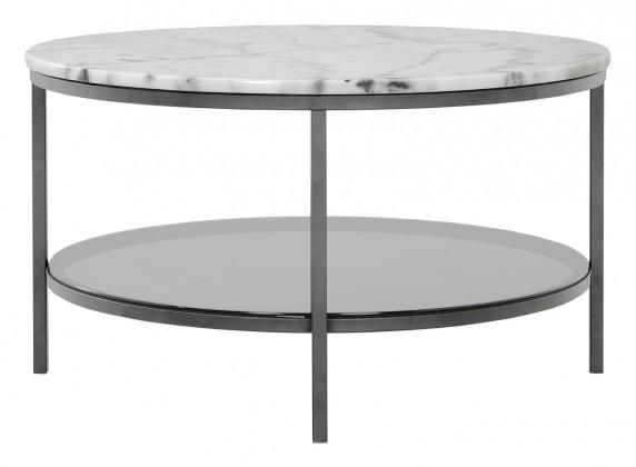 Sklenený Ascot - Konferenčný stolík, kruh 85 cm (prírodný mramor, oceľ)