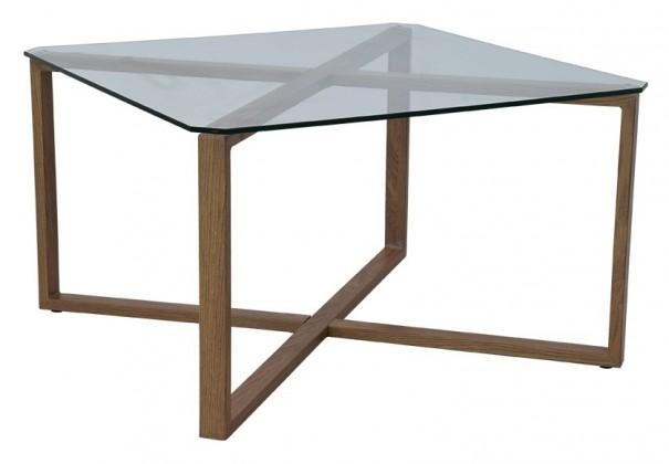 Sklenený Cleo - Konferenčný stolík, štvorec (sklo, kov)