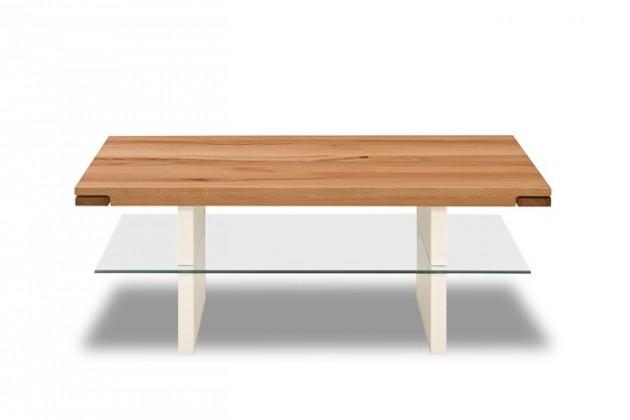 Sklenený Feel - Konferenčný stolík (divoký buk/biela)