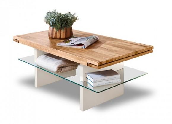 Sklenený Feel - Konferenčný stolík (dub/biela)