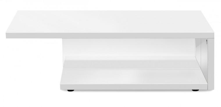 Sklenený Game - konferenčný stolík s čírym sklom (biela/biela)