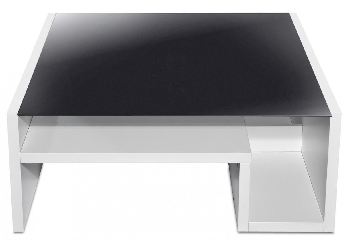 Sklenený Game - konferenčný stolík so skl. doskou (biela/sklo čierne)